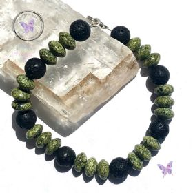 Mens Russian Serpentine & Lava Stone Bracelet
